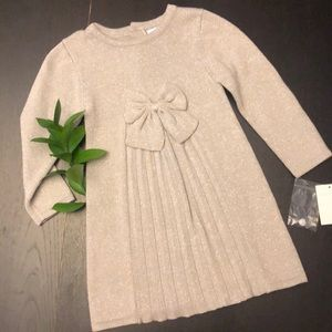 Savannah Silver Sparkle Sweater Dress with Bow
